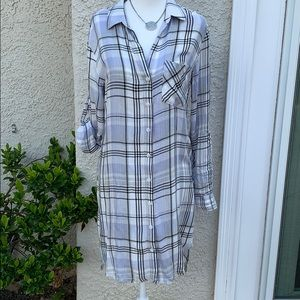 Cloth & Stone Plaid Button Shirt Dress Size S NWOT